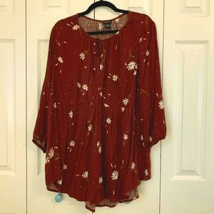 Torrid cranberry-colored babydoll top
